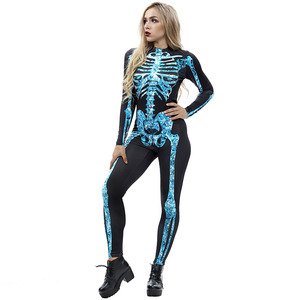 Image 3 - 무서운 할로윈 해골 뼈 인쇄 의상 성인 여성 공포 카니발 농담 Catsuit 점프 슈트 긴 소매 바디 수트 레이디