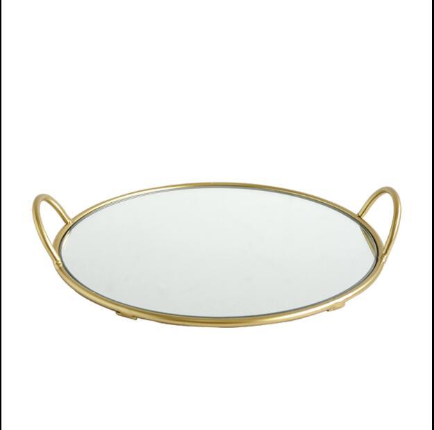 Plateau décoratif de 22cm à la mode D   Cadre métallique rond, plateau de miroir en verre, plateau de bijoux pour la décoration de la maison, TYTP035