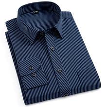 Novo plus size camisa masculina vestido listrado não-ferro formal moda social manga longa negócios inteligente casual camisa regular ajuste 5xl 6xl