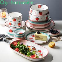 Корейская разноцветная керамическая посуда в виде клубники столовые