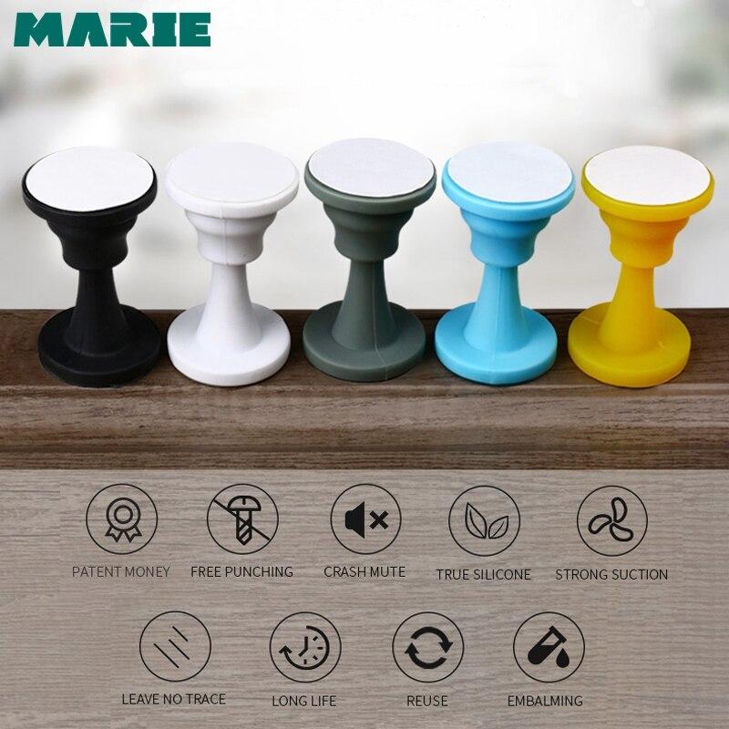 MARIE Silicone Self Adhesive Door Stopper Non Drilling Sticker Wall Protectors Hidden Door Holders