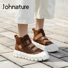 Women Sneakers Elastic-Band Retro Genuine-Leather New Sewing Johnature Handmade Concise