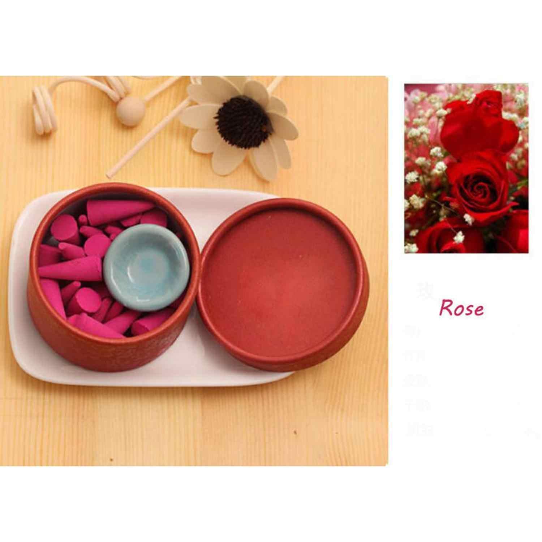 25 pçs/caixa cones de incenso suporte de incenso pagode incenso natural varas rosa tulipa perfume torre sândalo spice bandeja