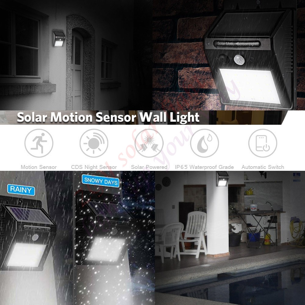 48 Leds Solar Pared Luz Sensor Movimiento Impermeable Exterior Seguridad Lámpara