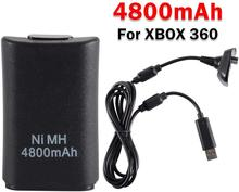 TWISTER.CK Easy To Use Black 2 in 1 4800mAh Black Battery Pack Charging Cable USB Set for XBOX 360 Wireless Controller
