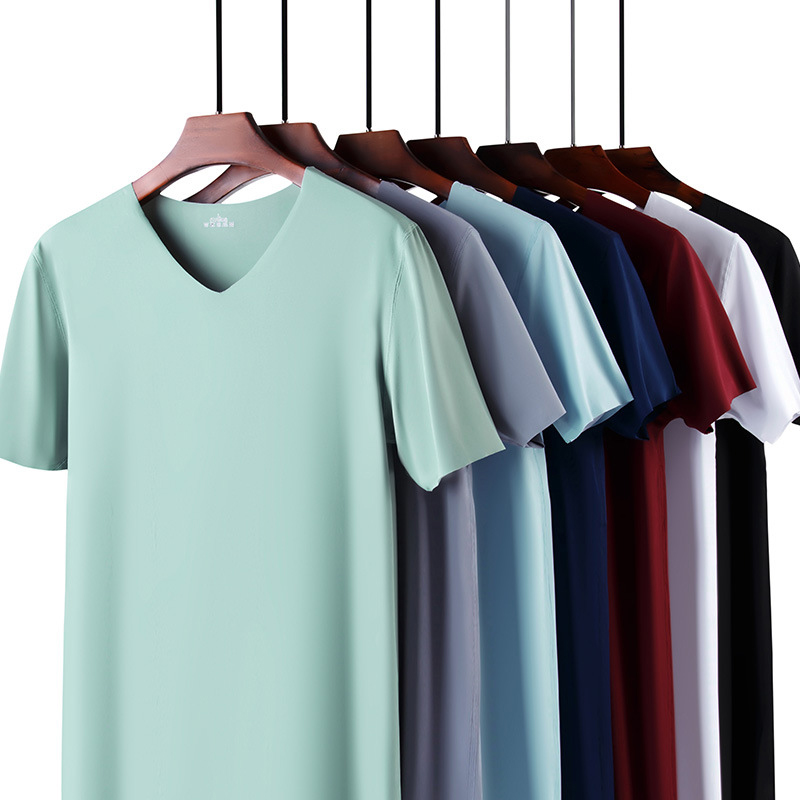 2020 New Solid Color T Shirt Mens Fashion Polyester V-neck T-shirts Summer Short Sleeve Tee Boy Skate Tshirt Tops Plus Size