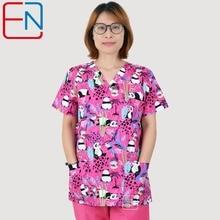 Merk Scrub Scrub Tops Voor Vrouwen Scrub Scrubs, Scrub Uniform In 100% Print Katoen Maotou Serie