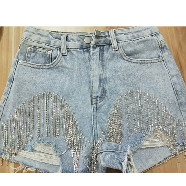 IEQJ 2021 New Fashion Denim Jeans Women Hole Tassel Bright Diamond Chain Light Blue Streetwear High Waist Slim Short Pant AE323 5