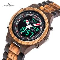 BOBO BIRD Luminous Hands Watch Men Wood Handmade Auto Date Wooden Strap Male Clock in Gift Box Christmas Relogio Masculino B P02