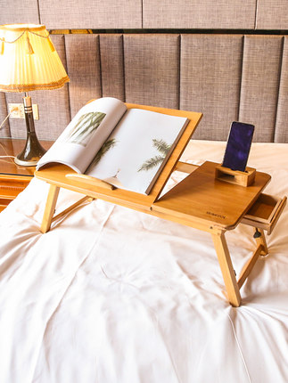 Eco-friendly Bamboo Laptop Table For Bed Computer Desk 4 Gears Height Adjustable Laptop Stand Folding Table