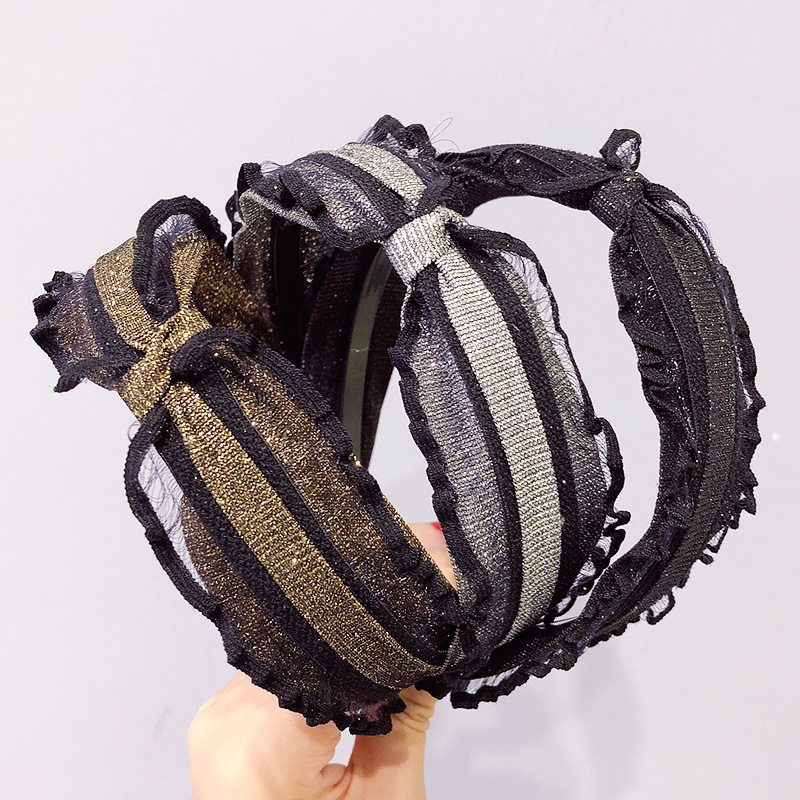 2020 New Women Vintage Gold Silver Bling Black Lace Knot Hairbands Lady Elegant Headband Hair Holder Fashion Hair Accessories