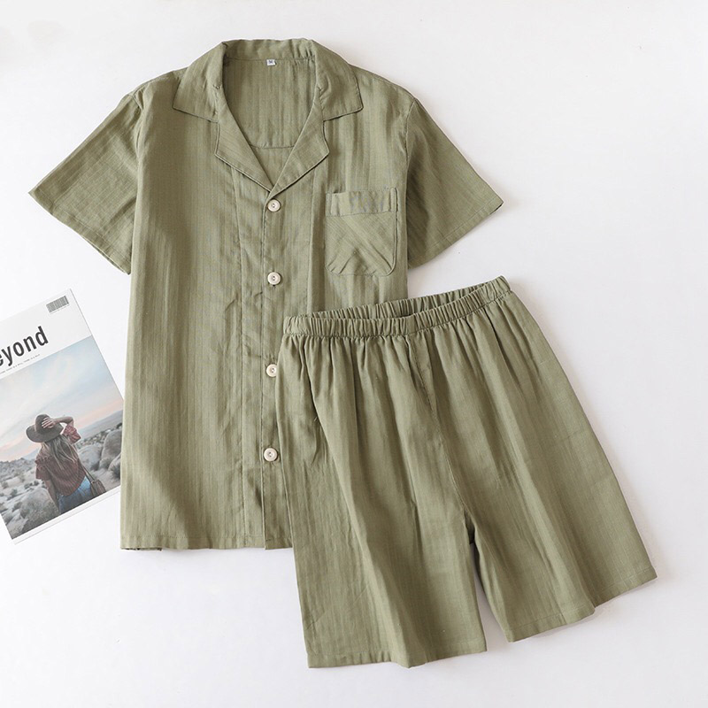 Image 3 - Lovers Solid Color Simple Style Pajamas Set Comfort Gauze Cotton Men And Women Sleepwear Short Sleeve+Pants Summer Thin HomewarPajama Sets   -