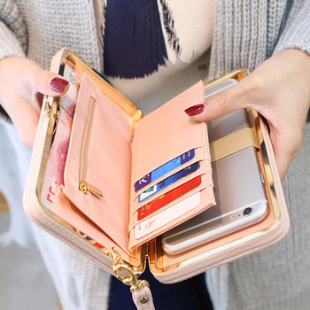 Fashion Casual Long Women Bow Wallets Heel Purses Box Card Holder Lady Clutch Phone Handbag Case PU Leather Storage Bag Home