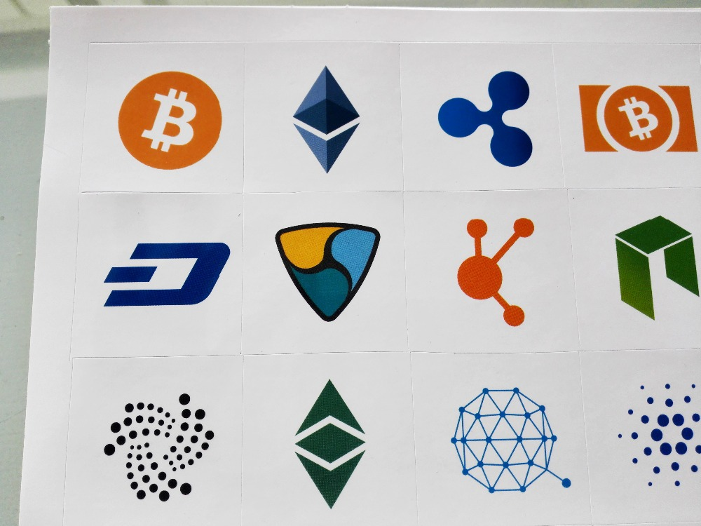 20 компл./лот 20 типов криптовалютных логотипов самоклеющаяся этикетка клейкой бумаги Наклейка, пункт № FS16