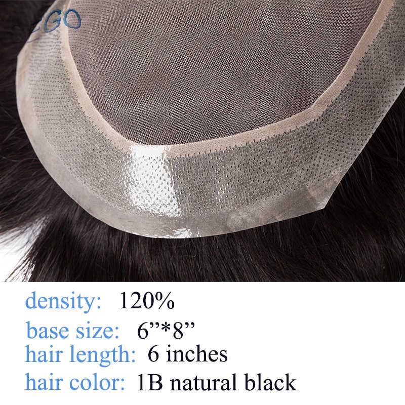 """SEGO 6 ''x 8"""" proste prawdziwe ludzkie włosy męskie Toupees nierealne Mono i PU peruka damska z cienką skórą naturalne włosy peruka wymiana indyjskie włosy System"""