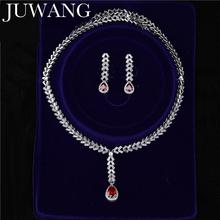 Kryształowy zestaw biżuterii ślubnej naszyjnik kolczyki w stylu Vintage cyrkonia biżuteria zestaw biżuterii ślubnej matka panny młodej tanie tanio JUWANG Miedzi Kobiety Dziewczyny Moda TRENDY Zaręczyny JS18120106 Crystal Wedding Jewelry Set Necklace Earrings Naszyjnik kolczyki