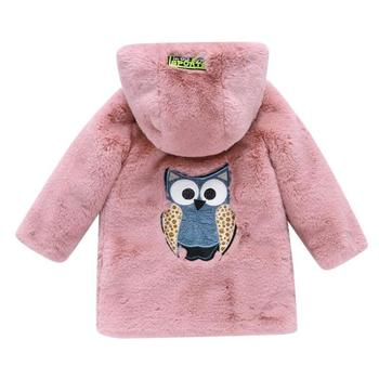 New Cartoon Thick Winter Coat Girls Clothes for Infant Girl Faux Fur Hooded Newborn Children Jacket Casaco Infantil Children Top