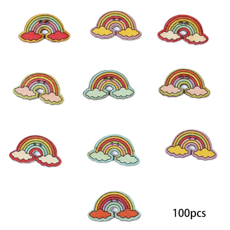 100Pcs Mixed Multicolor Rainbow Cloud Shaped 2 Hole Wooden Buttons For DIY Craft AXYD