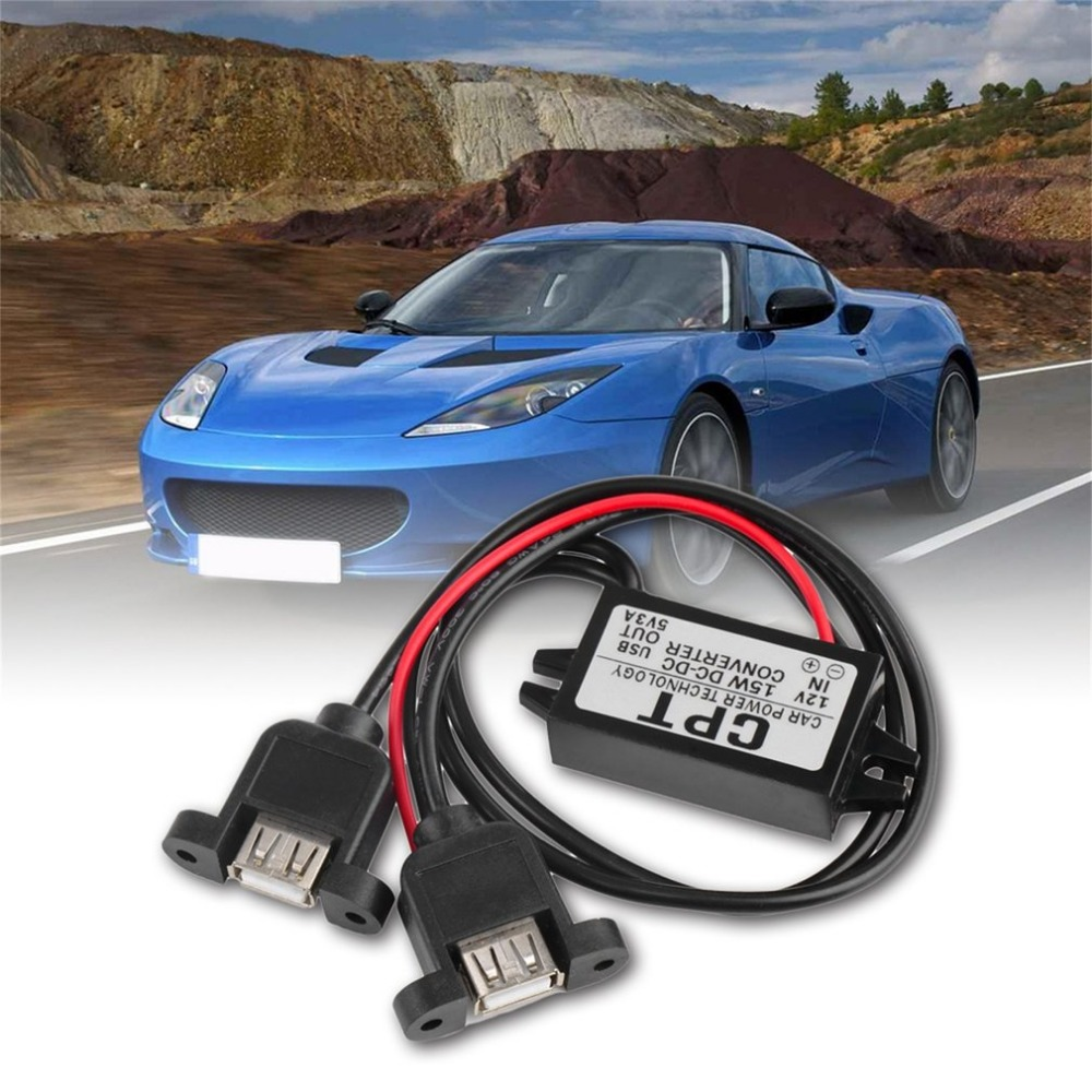 <font><b>Car</b></font> Vehicles CPT UL5 Universal <font><b>DC</b></font> <font><b>DC</b></font> <font><b>Converter</b></font> Module <font><b>12V</b></font> <font><b>To</b></font> <font><b>5V</b></font> <font><b>3A</b></font> 15W With Double USB Output <font><b>Power</b></font> <font><b>Adapter</b></font> image