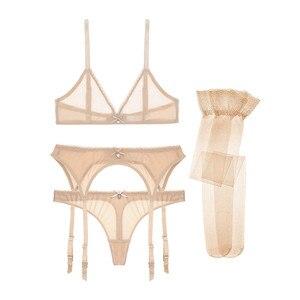 Image 3 - Varsbaby 섹시한 브래지어 + 가죽 끈 + 가터 + 스타킹 4pcs 투명 속옷 와이어 무료 원활한 브래지어 세트
