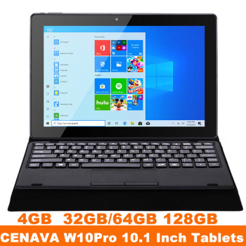 CENAVA W10Pro 2 in 1 Windows Tablet PC 10.1 Inch Win10 Intel Celeron N3350 4GB 32GB/64GB/128GB 1280*800 Notebook With Keyboard