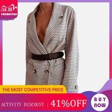 Verificado senhora do escritório blazer feminino mini vestido xadrez manga longa oversized jaqueta 2020 primavera outono vestidos casuais streetwear