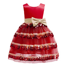 Girls Princess Red Boutique Dress Baby Girl Bow Sequin Cake Christmas Evening