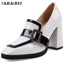 купить SARAIRIS New Brand Concise Whole Genuine Leather Pumps Women 2019 Autumn Office Lady Elegant High Heels Shoes Woman дешево