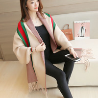 Autumn and winter women's tassels cloak sweater bat sleeves shawl cardigan sweater coat long thick fashion shawl cloak