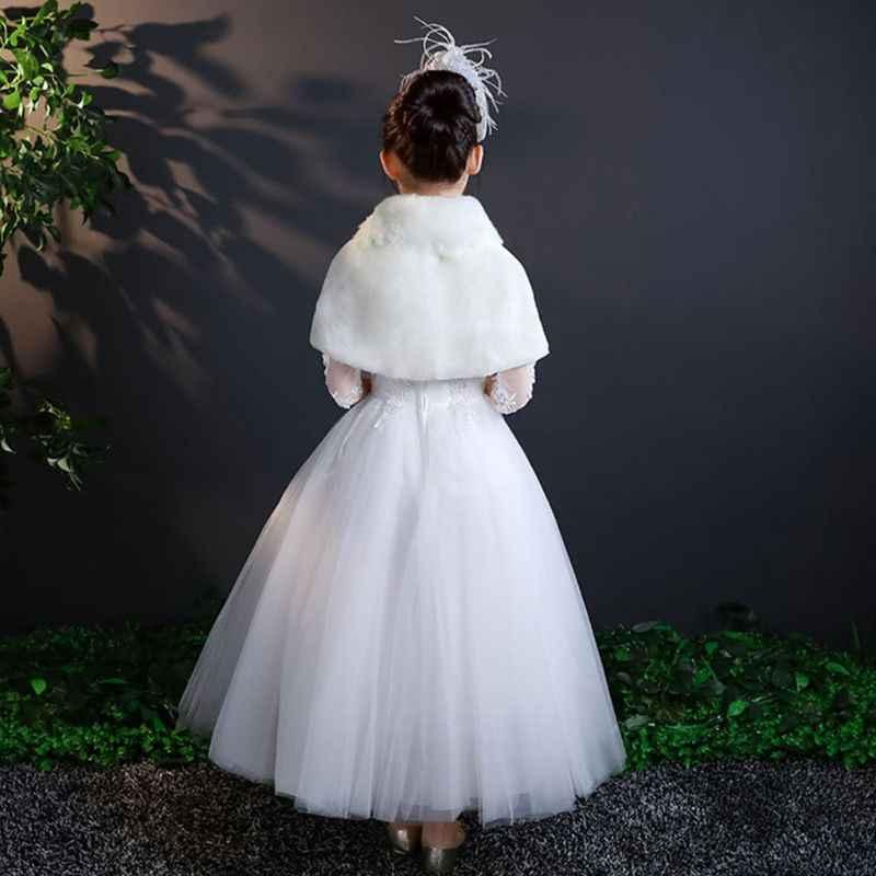 פרח בנות חורף חתונה לעבות קטיפה צעיף לעטוף נסיכת דש צווארון קצר בולרו משיכת הכתפיים קייפ עם סאטן סרט Bowknot