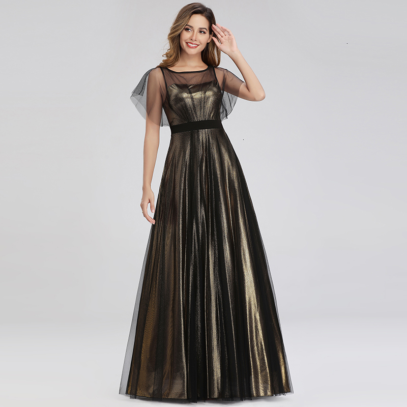 Elegant Gold Prom Dresses A-Line O-Neck Bat Wing Sleeve See-Through Tulle Sparkle Formal Evening Gowns Vestido Formatura 2019