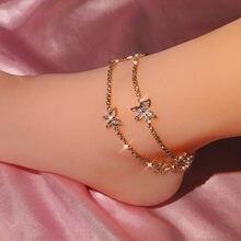 Bracelet de cheville papillon en cristal brillant pour femmes, couleur or argent, chaîne de Tennis, à la mode, bijoux de fête sur la plage