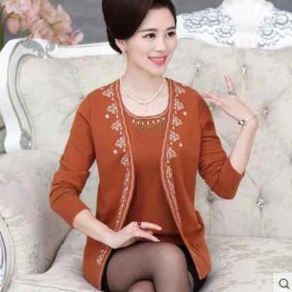 Otoño 2019poncho mujer blusa tricot otoño madre tejido falso dos piezas suéter femenino manga larga talla grande cardigans S424