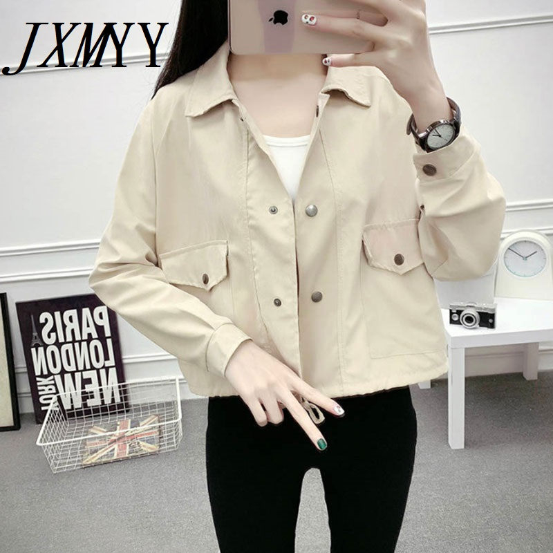 JXMYY Spring women short jacket single-button long sleeve pockets pink cardigan coat fashion casual solid female clothes 2021