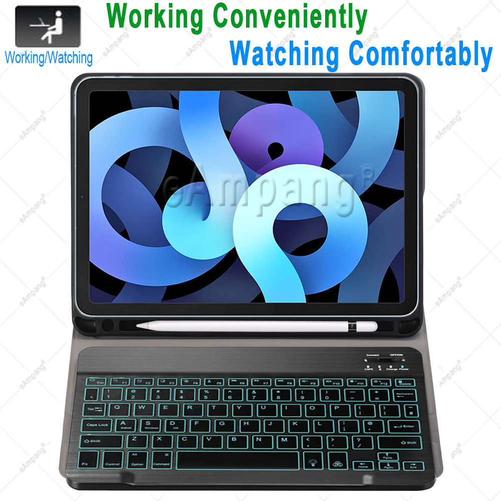 Keyboard Case for iPad Air 4th 4 10 9 2020 A2324 A2072 Cover 7 Colors Backlit
