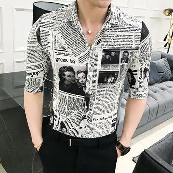 M-3XL Fashion 2020 Streetwear Mens Shirts Casual Slim Fit Half Sleeve Newspaper Shirt Men Dress Plus Size недорого