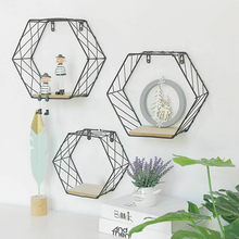Nordic Style Iron Hexagonal Grid Wall Shelf Combination Wall Hanging Geometric Figure for Wall Decoration Living Room Bedroom(China)