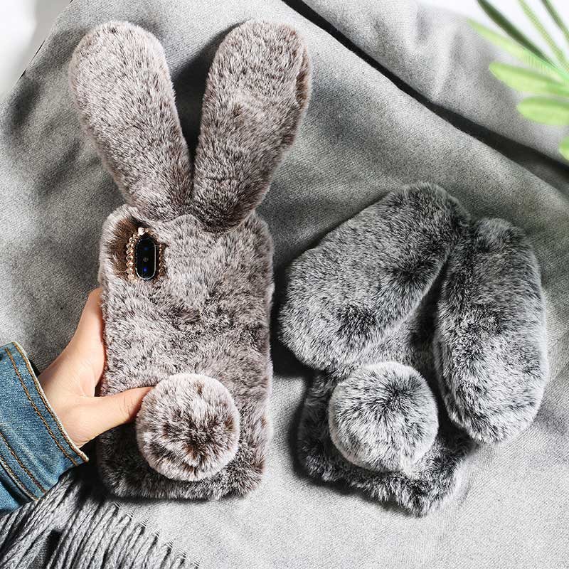 Rabbit Ears fluffy Fur Plush diamond Warm phone Case For <font><b>Nokia</b></font> X3 3.1 X7 <font><b>7.1</b></font> 8.1 9 1 4.2 X71 3.2 2.2 Plus Protective <font><b>Back</b></font> <font><b>Cover</b></font> image
