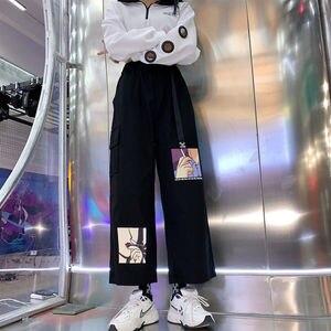 С поясом широкие брюки женские мешковатые штаны с высокой талией, с рисунком из аниме принтом женские спортивные штаны в Корейском стиле; Мо...