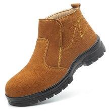 Мужские повседневные защитные ботинки большого размера рабочая обувь без шнуровки со стальным носком рабочие ботинки челси из коровьей кожи защитный человек