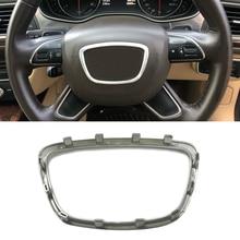 Серебро ABS Хромированная наклейка накладка на руль эмблема значок рамка блестки стикеры аксессуары для Audi Q3 Q5 Q7 A4 B8 B9 A6 C7