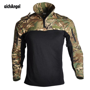 Outdoor T-shirt Men Long Sleeve Hunting Tactical Military Army Shirts Uniform Hiking Breathable Combat T Shirt Airsoft Clothes mens military army combat tactical windbreaker hiking outdoor jacket men water resistant outerwear hoodie coat hunting clothes