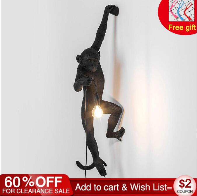 Resin Black White Monkey Pendant Light For Living Room Lamps Art Parlor Study Room Led Lights lustre With E27 Led Bulb