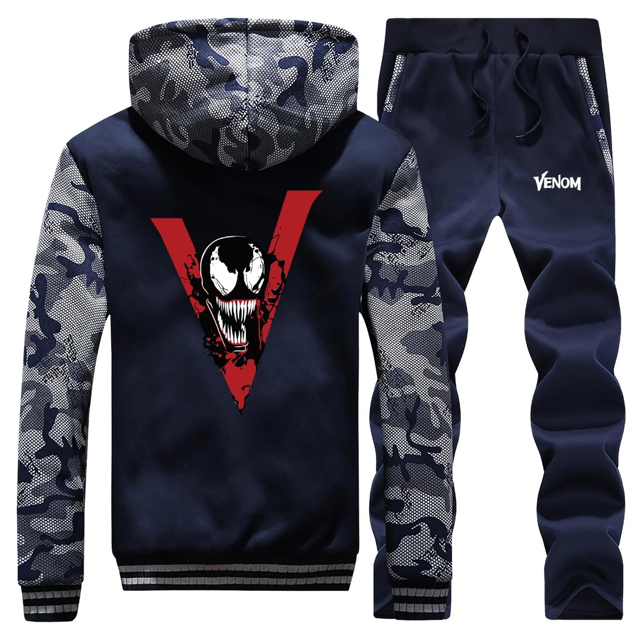 Hot Sale Winter Venom Cool Superhero Marvel Cartoon Mens Camouflage Sportswear Hoodies Coat Thick Suit Jackets+Pants 2 Piece Set