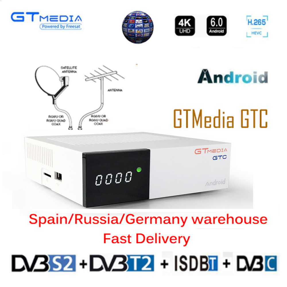 4K Android 6,0 ТВ коробка gtmedia GTC DVB-S/S2 + DVB-T2 + DVB-C поддержка 4K/3D/H.265 с 2G Ram + 16G Rom собран в 2,4G, Wi-Fi, ТВ декодер