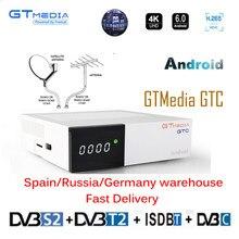 4k android 6.0 caixa de tv gtmedia gtc DVB-S/s2 + DVB-T2 + DVB-C suporte 4k/3d/h.265 com 2g ram + 16g rom construído em 2.4g wi-fi tv decodificador