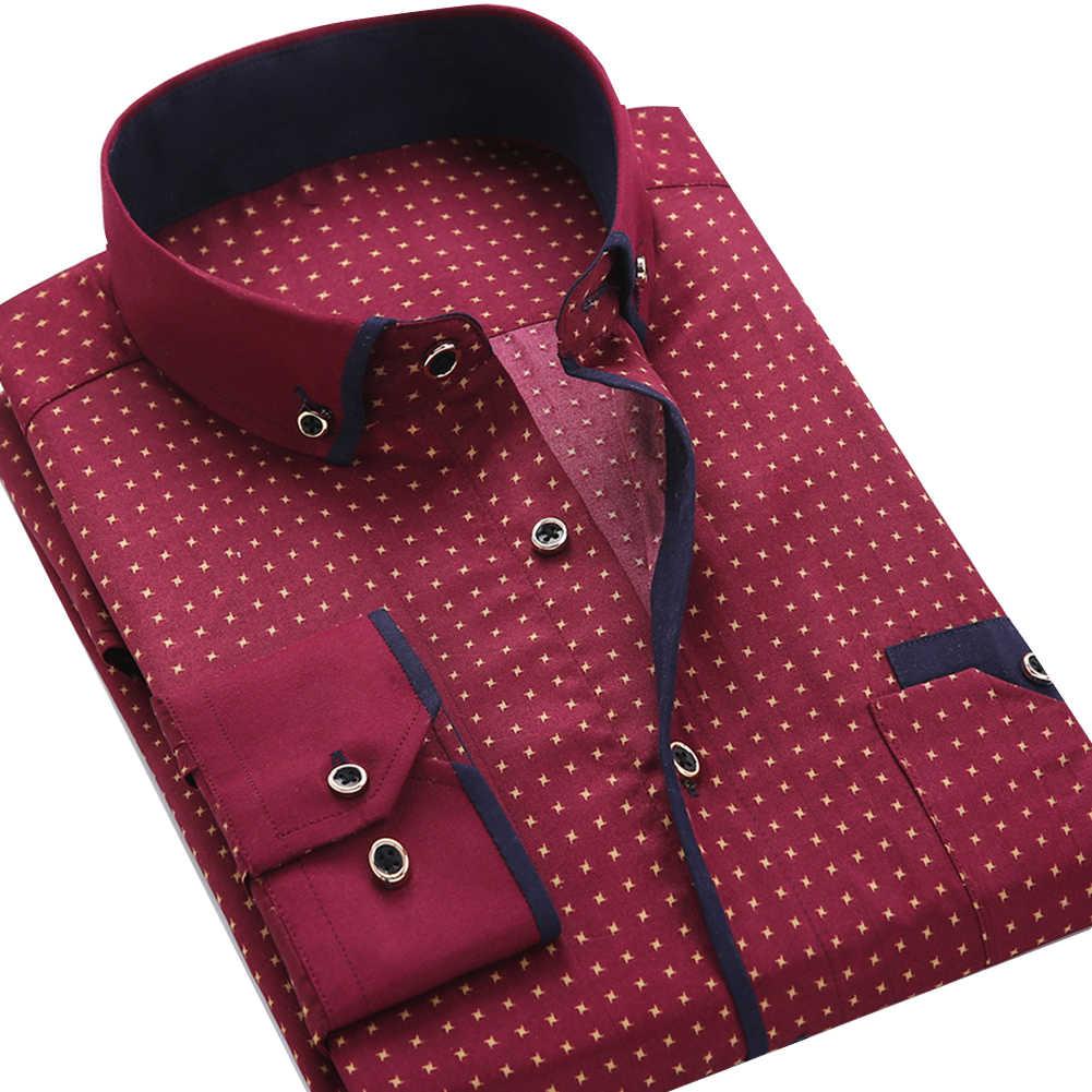 ビジネスメンズドット柄プリントターンダウン襟長袖ボタンシャツブラウストップファッションカジュアルシャツ男性社会ドレスシャツ