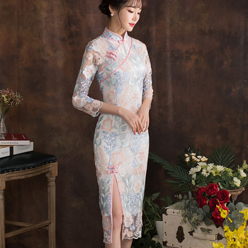 Traditional Chinese Long Qipao Classic Women Ao Dai Lace Cheongsam Oriental Bride Wedding Dresses 2020 New Evening Party Gown