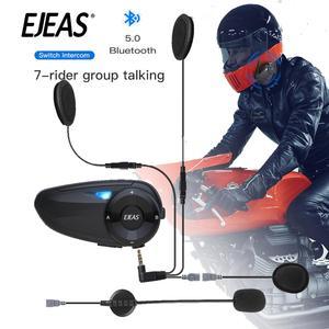 Image 1 - EJEAS Quick7 Bluetooth5.0 Motorcycle Helmet Headset Intercom Upto 7 Riders Waterproof Wireless Interphone Headsets with FM Radio