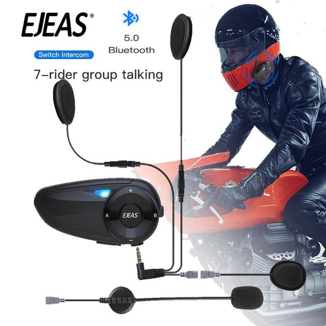 EJEAS Quick7 Bluetooth5.0 Motorcycle Helmet Headset Intercom Upto 7 Riders Waterproof Wireless Interphone Headsets with FM Radio